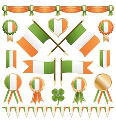 Irish flags and ribbons vector