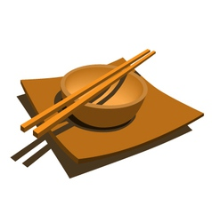 Japanese style dining set vector