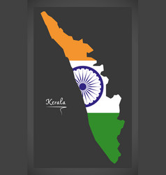 Kerala map with indian national flag vector