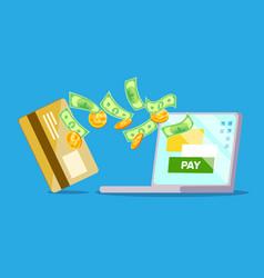 laptop payment dollars card laptop vector image