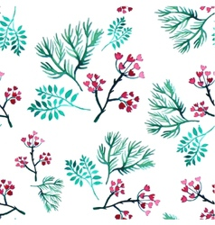 leaves and flowers watercolor seamless vector image