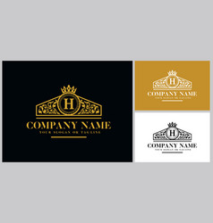 Letter h logo design luxury gold vector