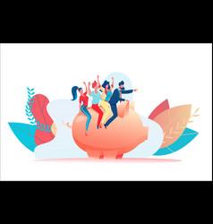 little joyful people sit on piggy bank leader vector image