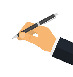 Man holds a pen for writing vector
