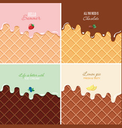 Melted cream on wafer background set - strawberry vector