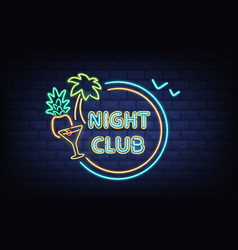 night club neon light signboard realistic vector image