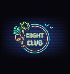 night club neon light signboard realistic vector image