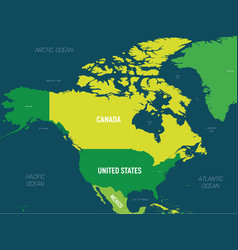 North america map - green hue colored on dark vector