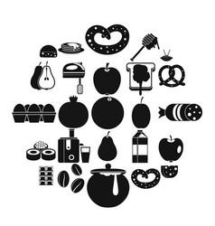 Nourishment icons set simple style vector