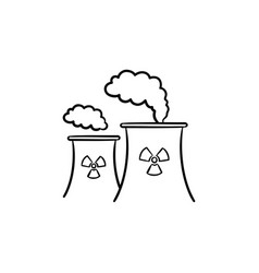 nuclear power plant hand drawn sketch icon vector image