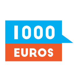 One thousand euros advertising sticker vector