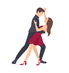 pair of young man and woman dressed in elegant vector image