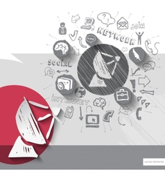 Paper and hand drawn antenna emblem with icons vector image