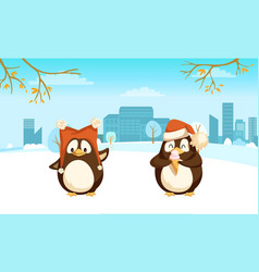 penguins with funny santa hat and ice-cream vector image