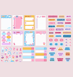 planner and stickers organized daily notebooks vector image