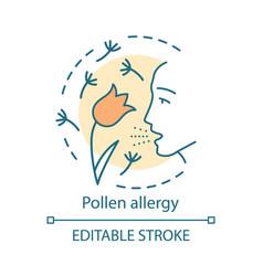Pollen allergy concept icon hay fever idea thin vector