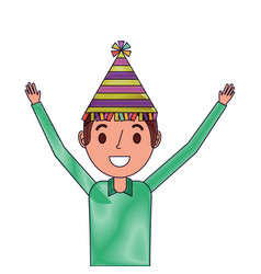 portrait happy man wearing party hat with arms up vector image