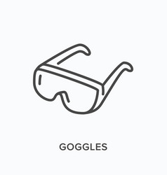 protective goggles flat line icon outline vector image