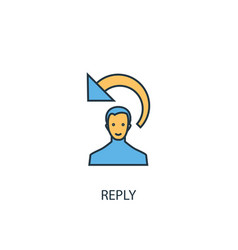Reply concept 2 colored line icon simple yellow vector