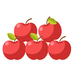Ripe organic apples with stems and leaves vector