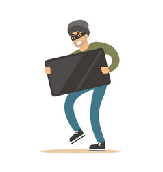 Robber in mask carrying black modern tv colorful vector