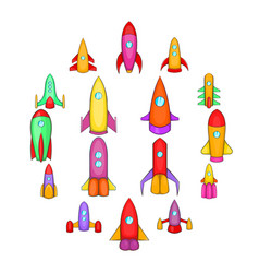 rockets icons set cartoon style vector image
