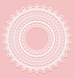 Round doily on a pink background openwork lace vector