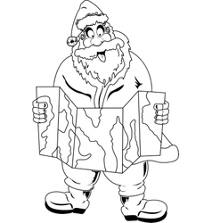 Santa Claus reading map vector image