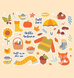 Set autumn or fall seasonal icons vector