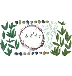 Set for creating round olive wreath vector