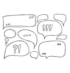 set of hand drawn sketchy speech bubbles isolated vector image