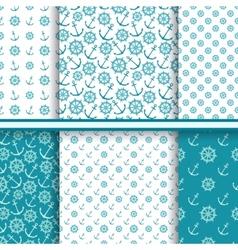 set of seamless sea patterns vector image
