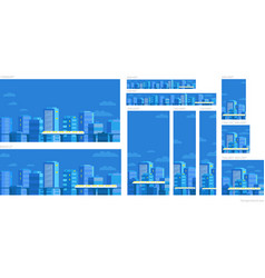 Set of web banners template panorama city vector