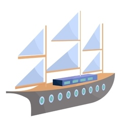 Ship with sails icon cartoon style vector