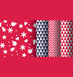 simple classic xmas pattern set vector image