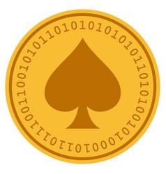spades suit digital coin vector image