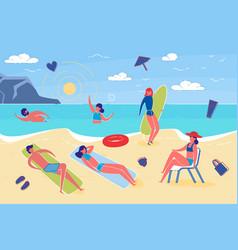 summer vacation and beach activity flat vector image