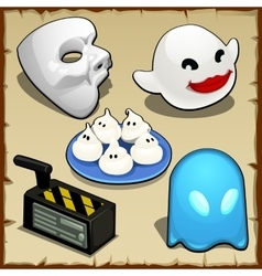 Symbolic set of different ghosts five items vector