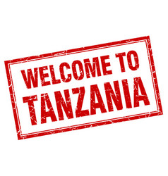 Tanzania red square grunge welcome isolated stamp vector