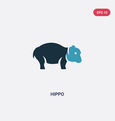 two color hippo icon from animals concept vector image