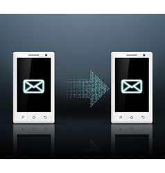 two smartphones transmit messages vector image