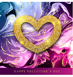 valentine love heart with alcohol ink texture vector image
