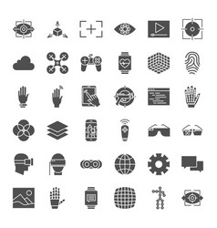 Virtual reality solid web icons vector