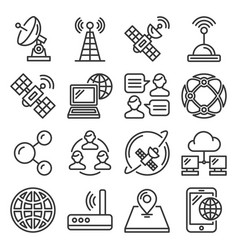 wireless communications and satellite icons set vector image