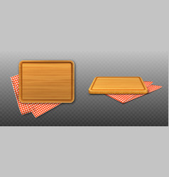 wooden cutting board and red plaid tablecloth vector image
