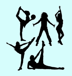 female pilates sport exercise healthy silhouette vector image