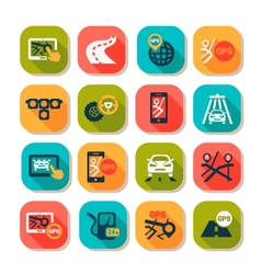flat auto icons set vector image vector image