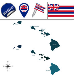 map of hawaii with regions vector image
