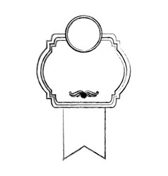 monochrome sketch with heraldic rounded square vector image