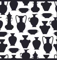 ancient clay vases isolated silhouettes vector image